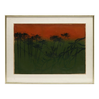 1958 Abstract Relief Print of Nature Scene