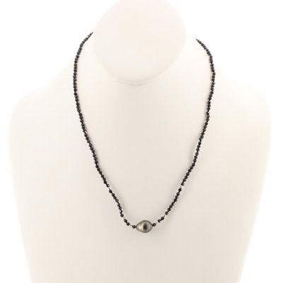 Sterling Silver Cultured Pearl and Black Spinel Beaded Necklace