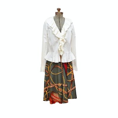 Ralph Lauren Silk Skirt and Ruffled Cotton Blouse