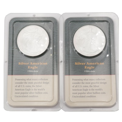 Two 1986 American Silver Eagle Dollars