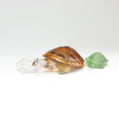 Lalique Crystal Sea Turtle Figurines