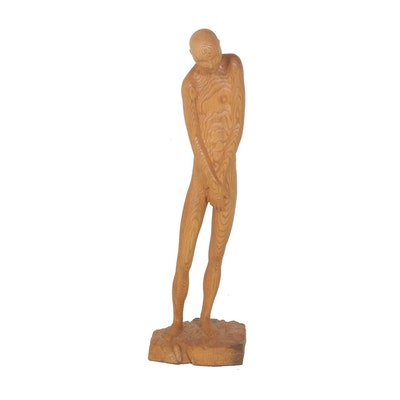 "Jerry Ward Carved Oak Wood Sculpture ""Pudique"""