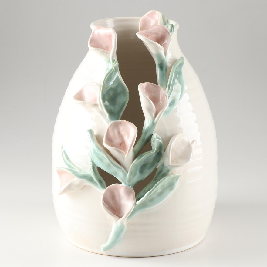 Thrown and Altered White Stoneware Vase with Calla Lily Decoration