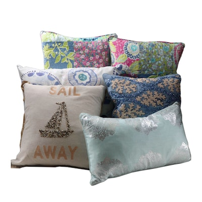 Decorative Pillow Grouping Featuring Marlo Lorenz and Bluebellgray