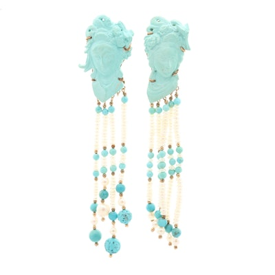 14K Yellow Gold Carved Turquoise and Cultured Pearl Tassel Earrings