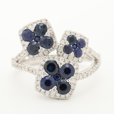 18K White Gold Sapphire and Diamond Floral Ring