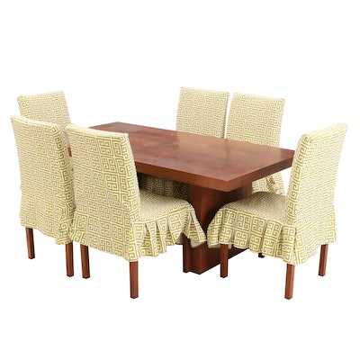 Mid-Century Walnut Extension Table and Six Chairs by Dillingham Mfg.