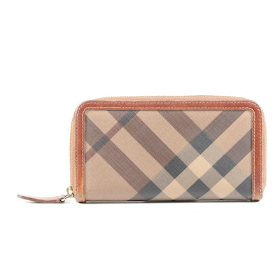 Burberry Tan Smoke Check Zipper Wallet
