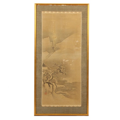 Chinese Ink Brush Landscape Painting on Silk