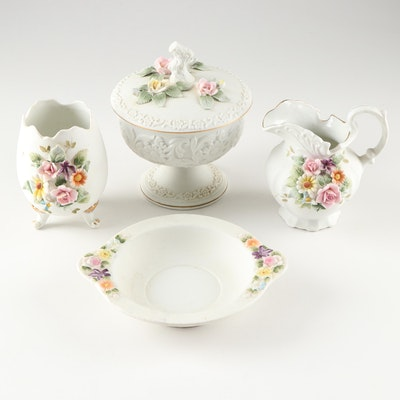 Lefton China Ceramic Egg, Candy Dish, and Pitcher with Applied Floral Decoration
