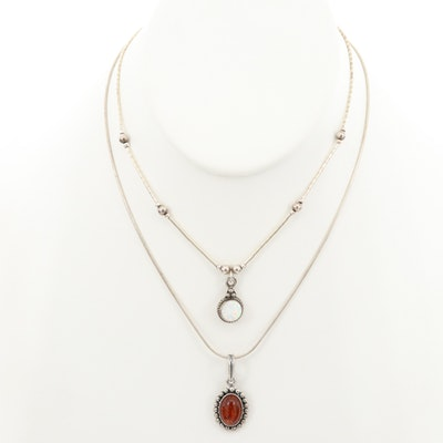 Sterling Silver Necklaces with Amber and Synthetic Opal