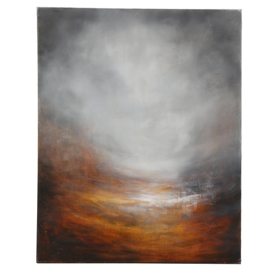 """Sarah Brown Abstract Oil Painting """"Night Fall"""""""