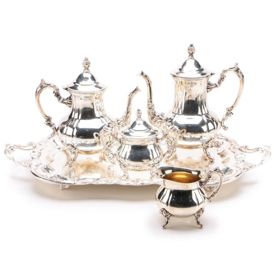 W & S Blackinton Silver Plate Five-Piece Tea and Coffee Set, Late 20th Century