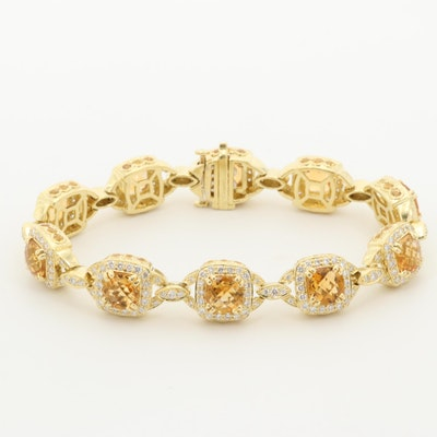 Charles Krypell 18K Yellow Gold Citrine, 3.45 CTW Diamond and Sapphire Bracelet