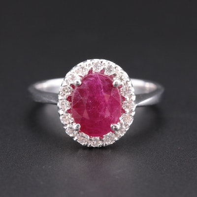14K White Gold 2.20 CT Ruby Ring with Diamond Halo
