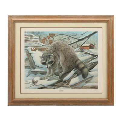 """John Ruthven Offset Lithograph """"Raccoon"""""""