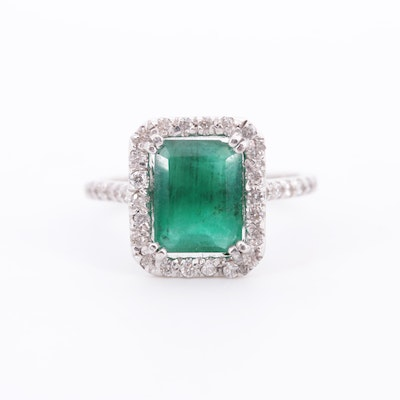 14K White Gold 2.30 CT Emerald and Diamond Ring
