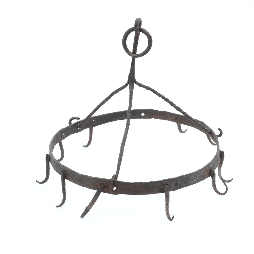 Early Forged Iron Game or Meat Hearth Hook, 18th or Early 19th Century