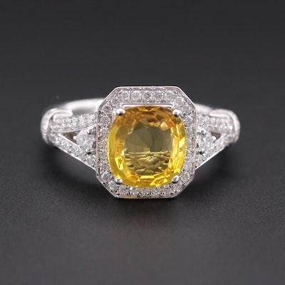 14K White Gold 1.93 CT Yellow Sapphire and Diamond Ring