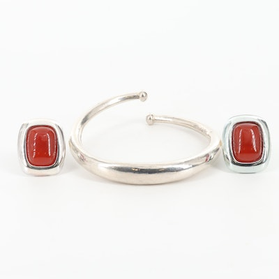 Francesca Romana Agate Earrings and Sterling Silver Bracelet