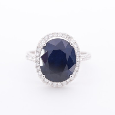 14K White Gold 5.61 CT Sapphire and Diamond Ring