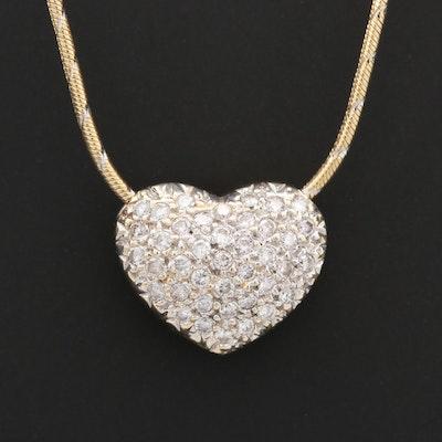 14K Yellow Gold Diamond Puffy Heart Slide Pendant Necklace