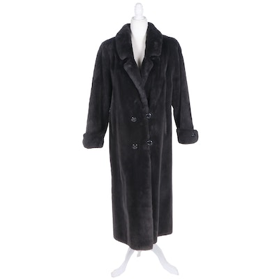 Canadian Dyed Grey Sheared Beaver Fur Double-Breasted Coat