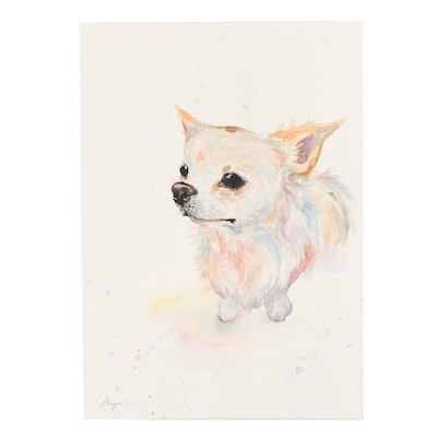 Angor Long-haired Chihuahua Watercolor Painting
