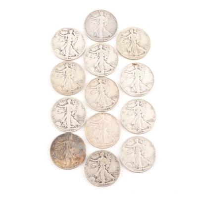 Thirteen Walking Liberty Half Dollars 1941-1945