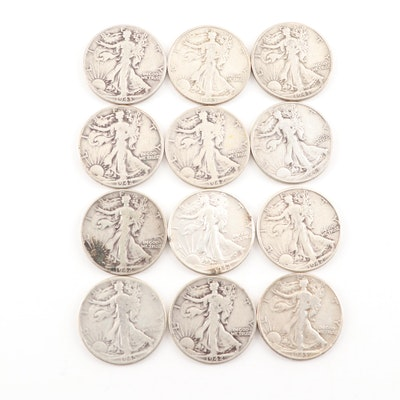 Twelve 1942 and 1943 Walking Liberty Half Dollars