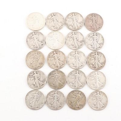 Twenty Walking Liberty Half Dollars 1942-1945