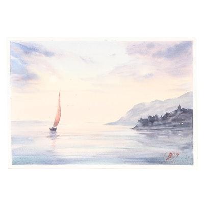 Natalia Kulikovska Seascape Watercolor Painting
