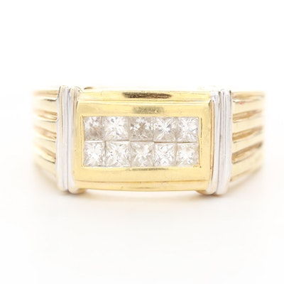 18K Yellow and White Gold 1.00 CTW Diamond Ring