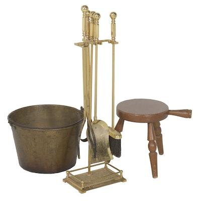 Antique Spun Brass Kettle, Fireplace Tool Set, and Tripod Stool
