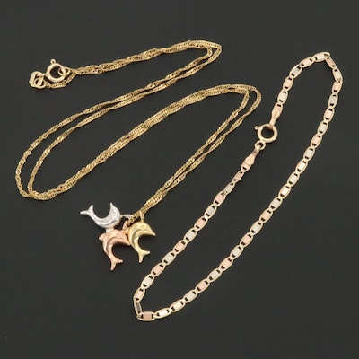 10K Yellow, White and Rose Gold Bracelet and Dolphin Pendant Necklace