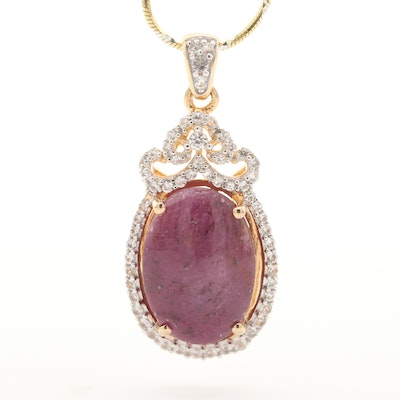 Sterling Silver Ruby and White Topaz Pendant Necklace