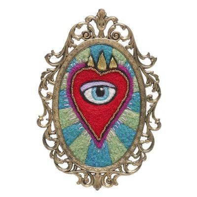 Sarah Miller Mixed Media Wall Hanging of Mystic Eye