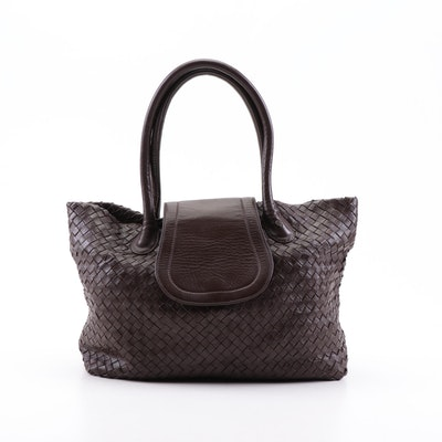 Helen Kaminski Australia Brown Woven Leather Shoulder Bag