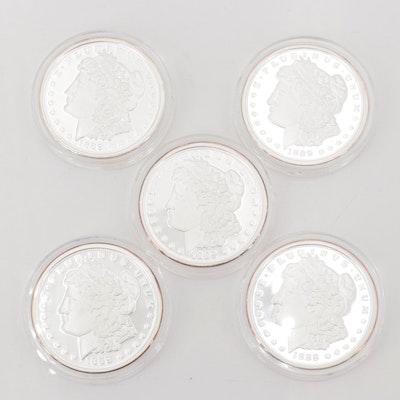 Five 1889 CC Morgan Silver Dollar Copies