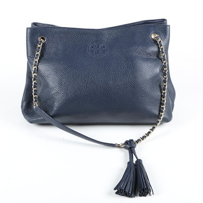 Tory Burch Navy Blue Pebbled Leather Shoulder Tote with Tassels