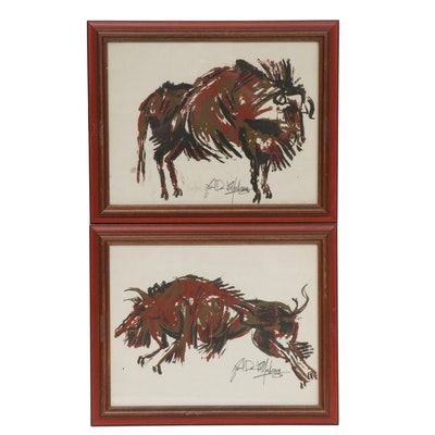 Late 20th Century Abstract Serigraphs of Bisons
