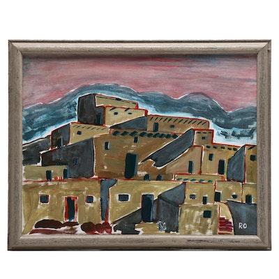 "Ruth Anne Outcalt Acrylic Painting ""Taos Pueblo"""