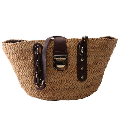 MICHAEL Michael Kors Woven Straw Tote with Brown Leather Link Handles