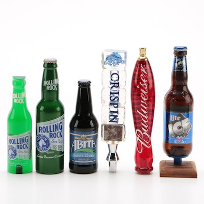 Beer Tap Handles Including Rolling Rock and Abita Root Beer, Contemporary