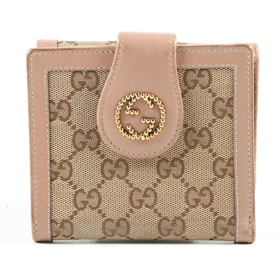 Gucci GG Canvas and Leather Bifold Coin Wallet, Vintage