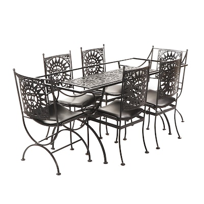 "Arthur Umanoff ""Mayan"" Black Painted Iron Patio Dining Set with 6 Chairs"