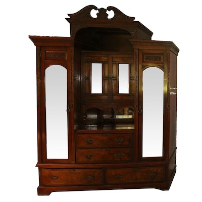 Victorian Carved Walnut Dressing Cabinet, Mid-19th Century