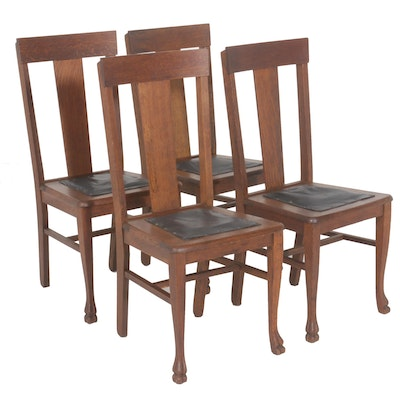 Claw Foot Upholstered Wood Dining Chairs, Set of Four
