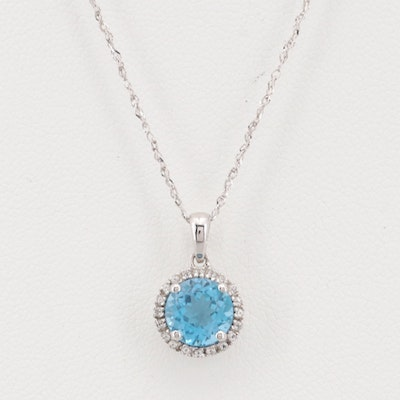 10K White Gold 1.65 CT Blue Topaz and Topaz Necklace