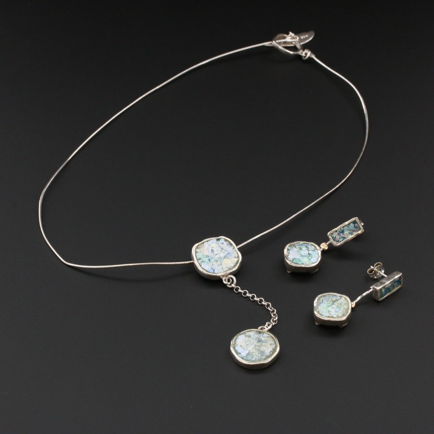 Sterling Silver Dichroic Glass Necklace and Earrings Set